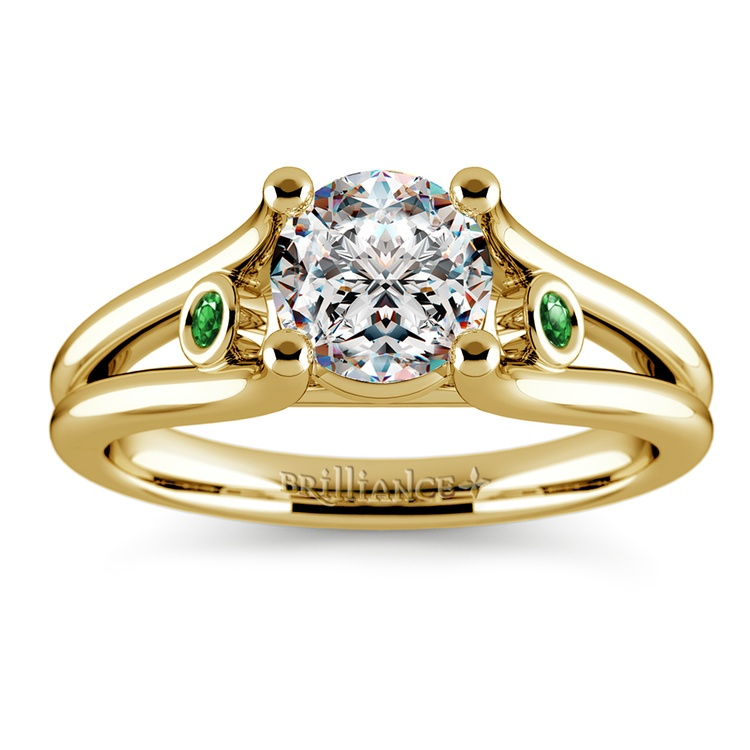 Emerald Gemstone Accent Solitaire Ring in Yellow Gold | 01