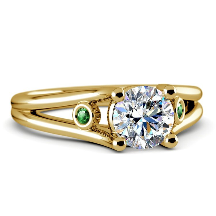 Emerald Gemstone Accent Solitaire Ring in Yellow Gold | 04