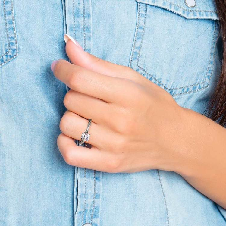 Twisted Band Engagement Ring In Platinum | 07
