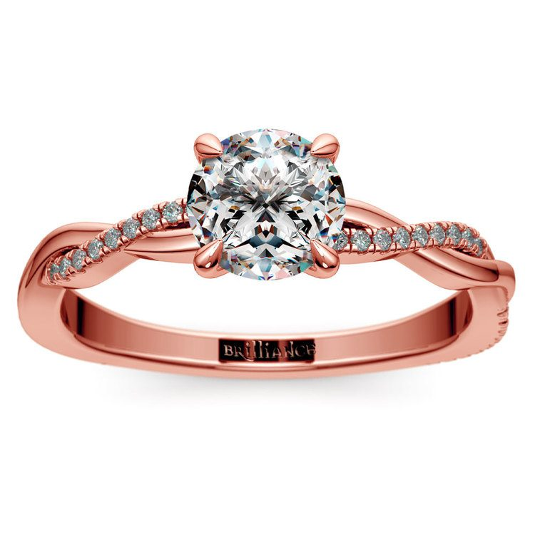Rose Gold Twisted Band Engagement Ring   01