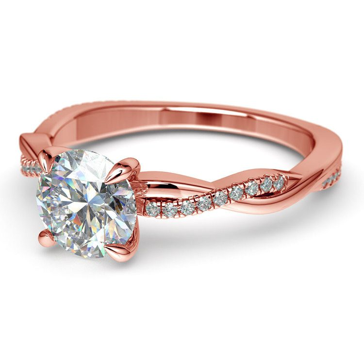 Rose Gold Twisted Band Engagement Ring   04
