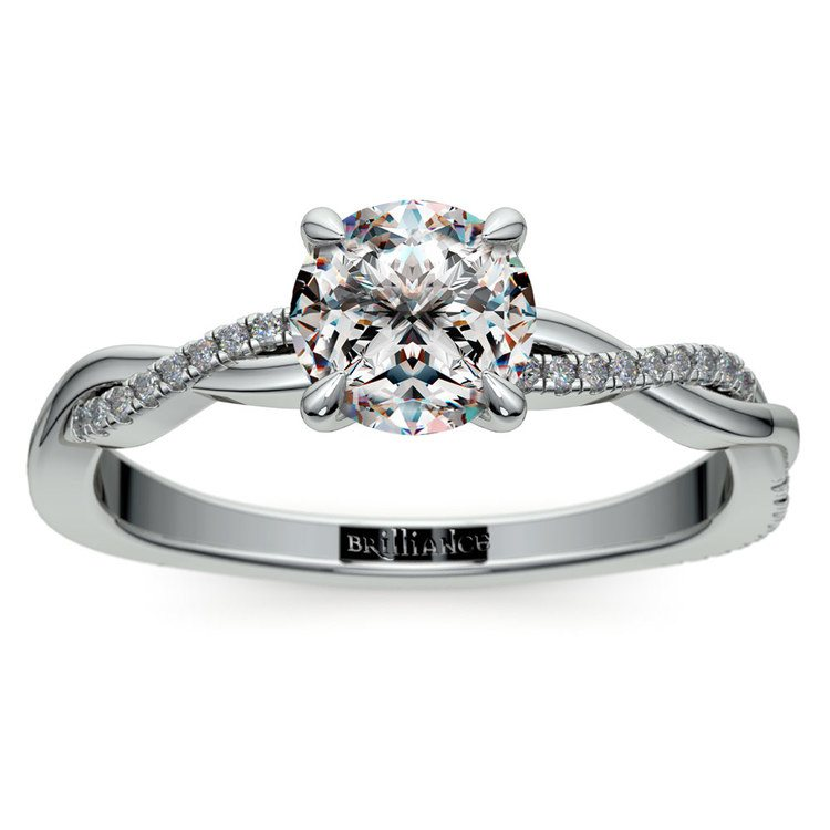 Twisted Band Engagement Ring In White Gold | 01