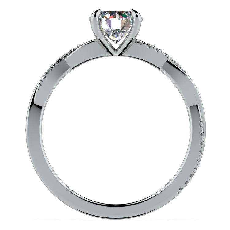 Twisted Band Engagement Ring In White Gold | 02