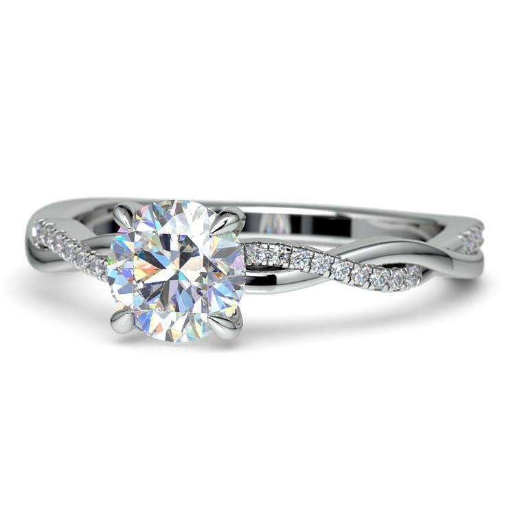 Twisted Band Engagement Ring In White Gold | 04
