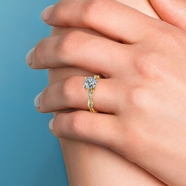 Twisted Band Engagement Ring In Yellow Gold | 06