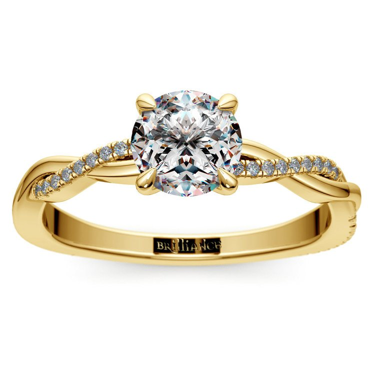 Twisted Band Engagement Ring In Yellow Gold | 01