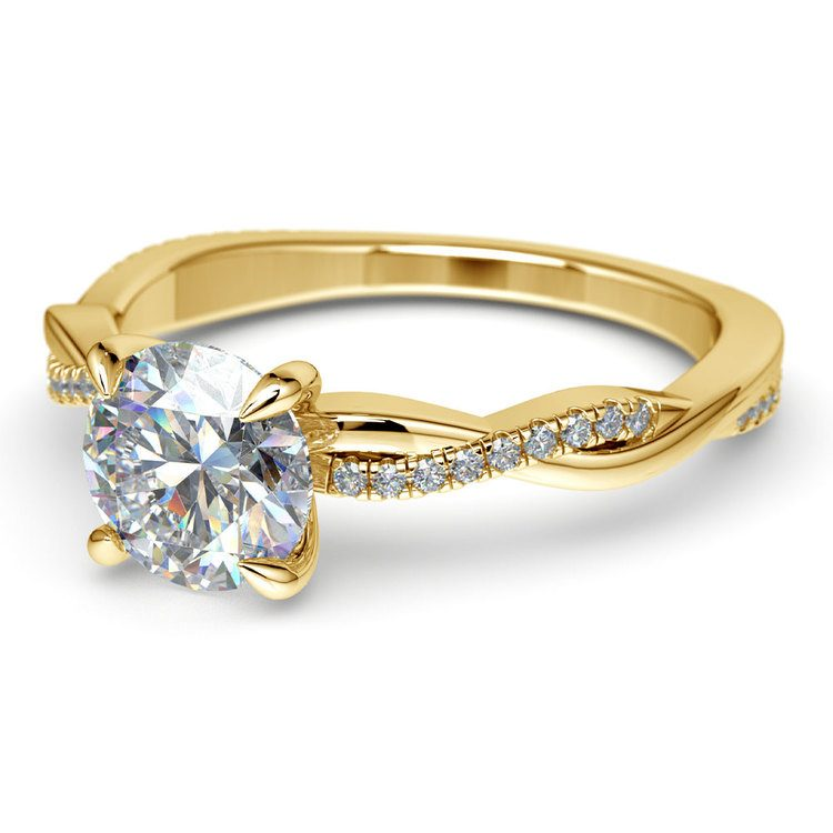 Twisted Band Engagement Ring In Yellow Gold | 04