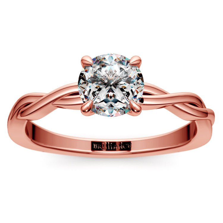 Twisted Solitaire Engagement Ring In Rose Gold   01