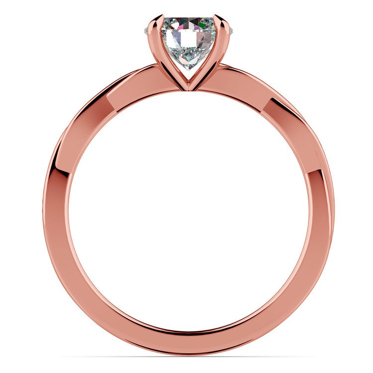 Twisted Solitaire Engagement Ring In Rose Gold   02