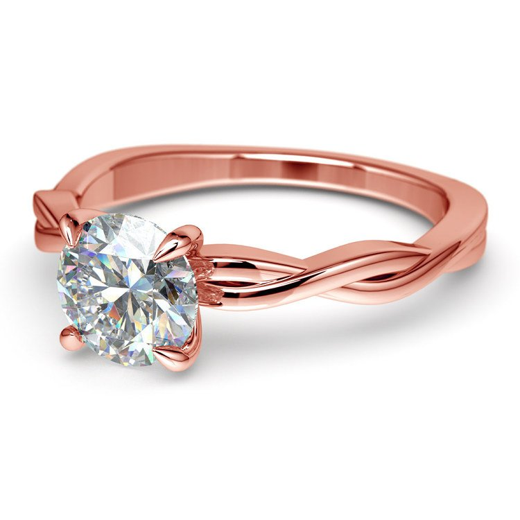 Twisted Solitaire Engagement Ring In Rose Gold   04
