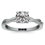 Twisted Solitaire Engagement Ring In White Gold | Thumbnail 01