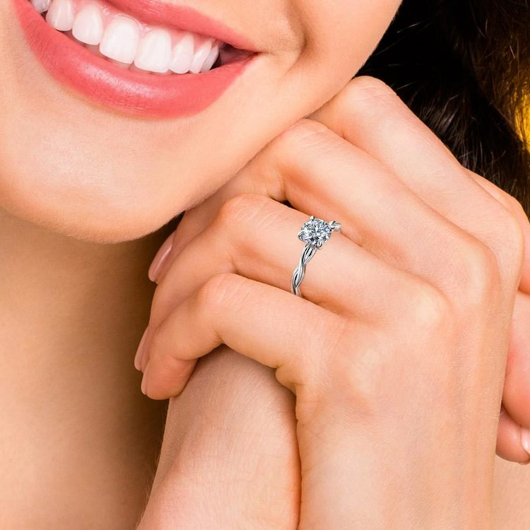 Twisted Solitaire Engagement Ring In White Gold | 06