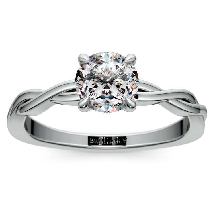 Twisted Solitaire Engagement Ring In White Gold | 01
