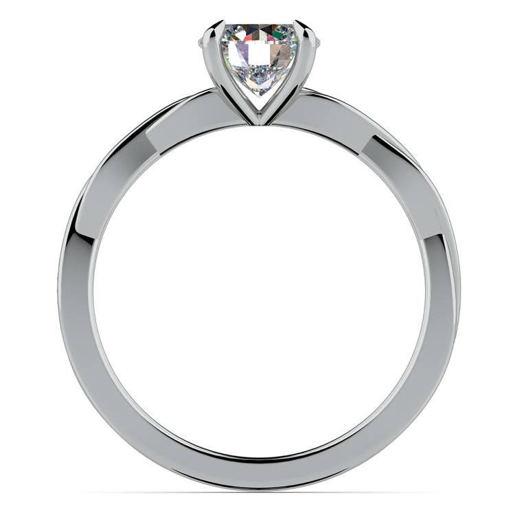 Twisted Solitaire Engagement Ring In White Gold | 02