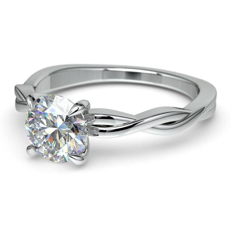 Twisted Solitaire Engagement Ring In White Gold | 04