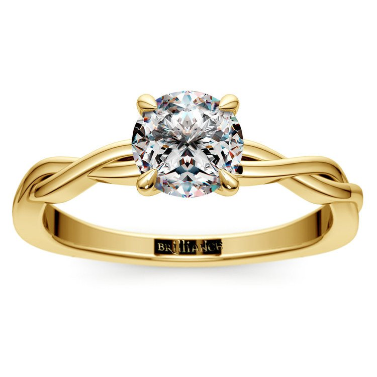 Twisted Solitaire Engagement Ring In Yellow Gold   01