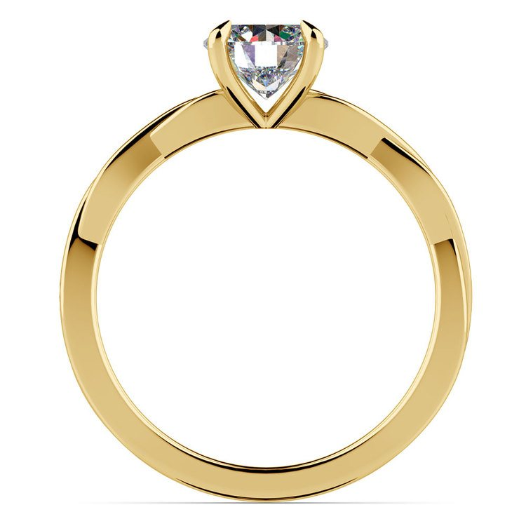 Twisted Solitaire Engagement Ring In Yellow Gold   02