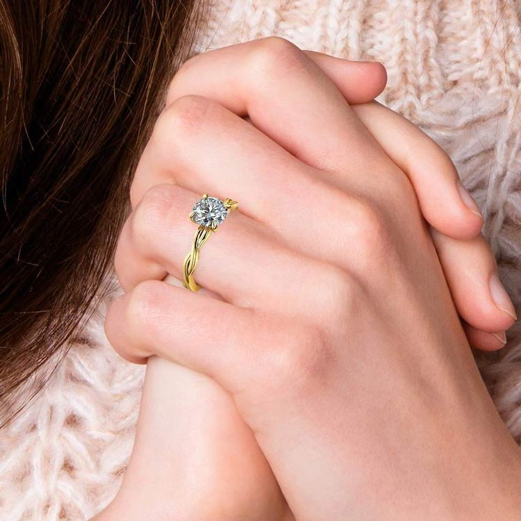 Twisted Solitaire Engagement Ring In Yellow Gold   06