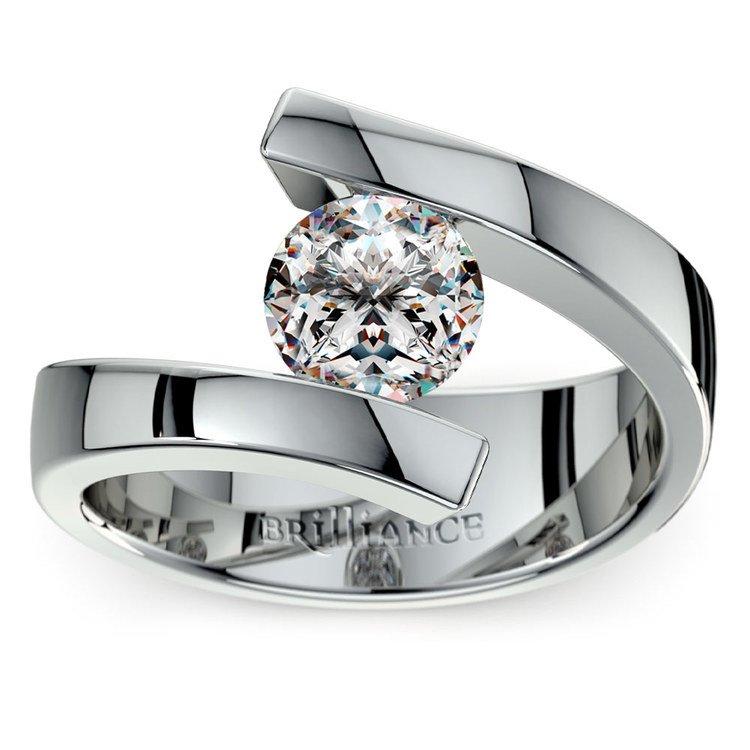 Platinum Bypass Engagement Ring Setting - Bold Modern Design | 01