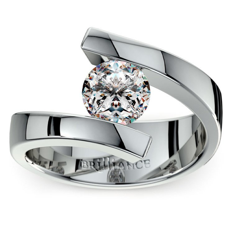 Contemporary Bypass Engagement Ring Setting In White Gold | 01