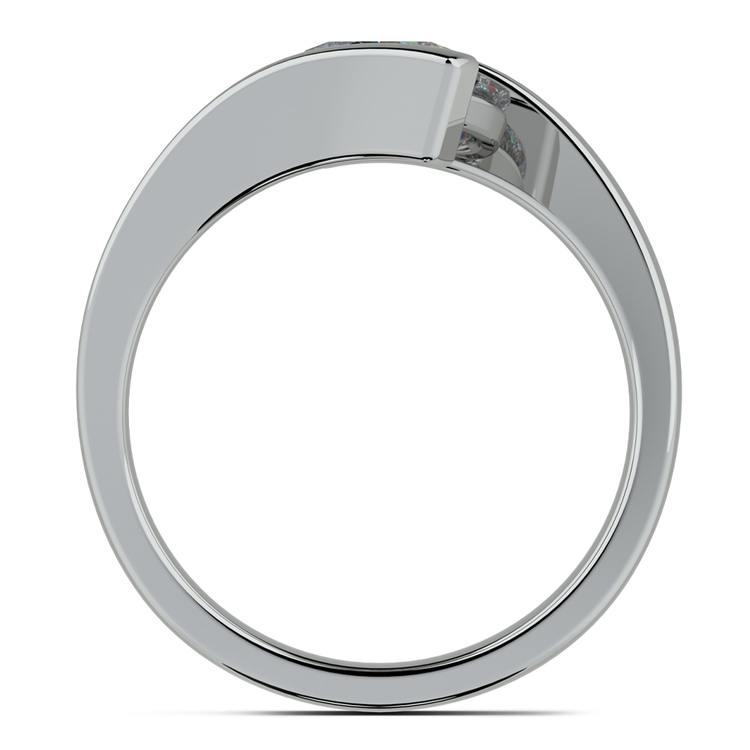 Contemporary Bypass Engagement Ring Setting In White Gold | 02