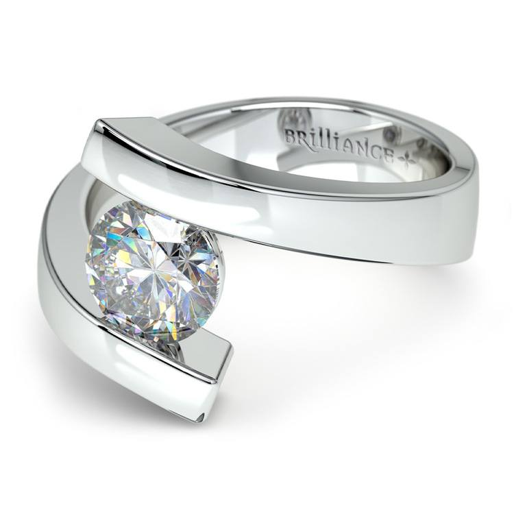 Contemporary Bypass Engagement Ring Setting In White Gold | 04