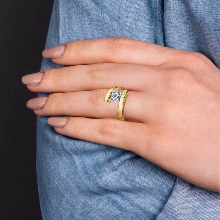 Gold Bypass Engagement Ring Setting - Clean Modern Design   06