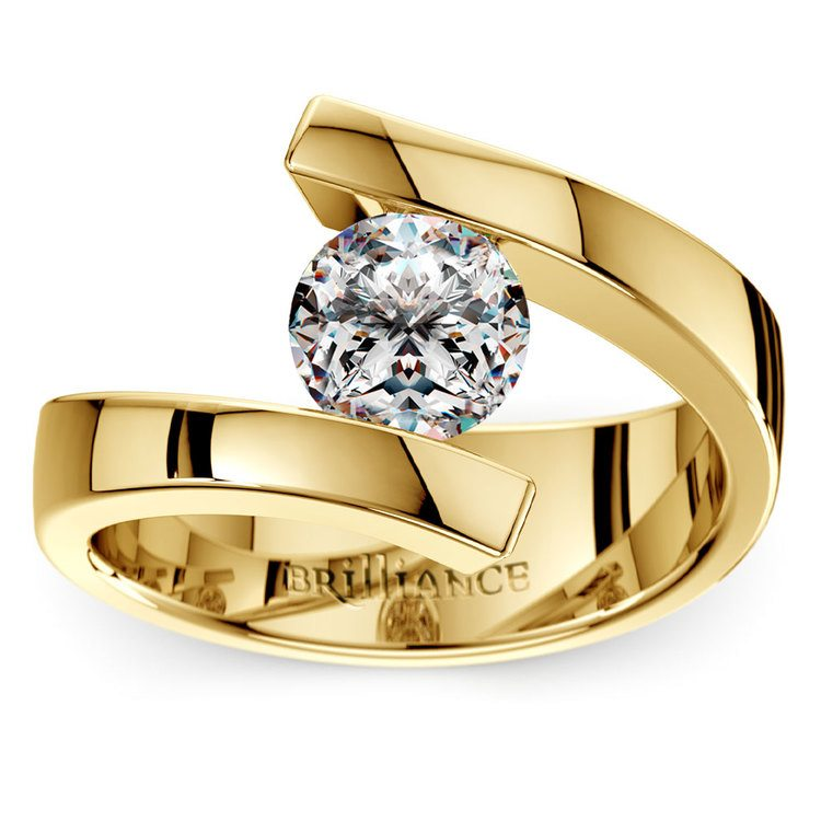 Gold Bypass Engagement Ring Setting - Clean Modern Design   01