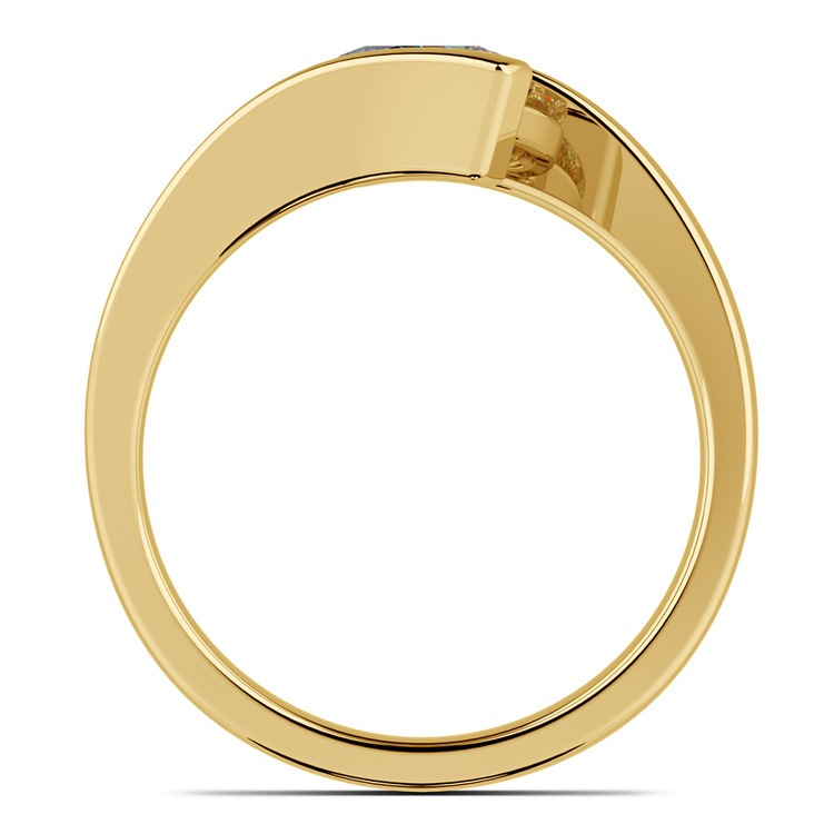 Gold Bypass Engagement Ring Setting - Clean Modern Design   02