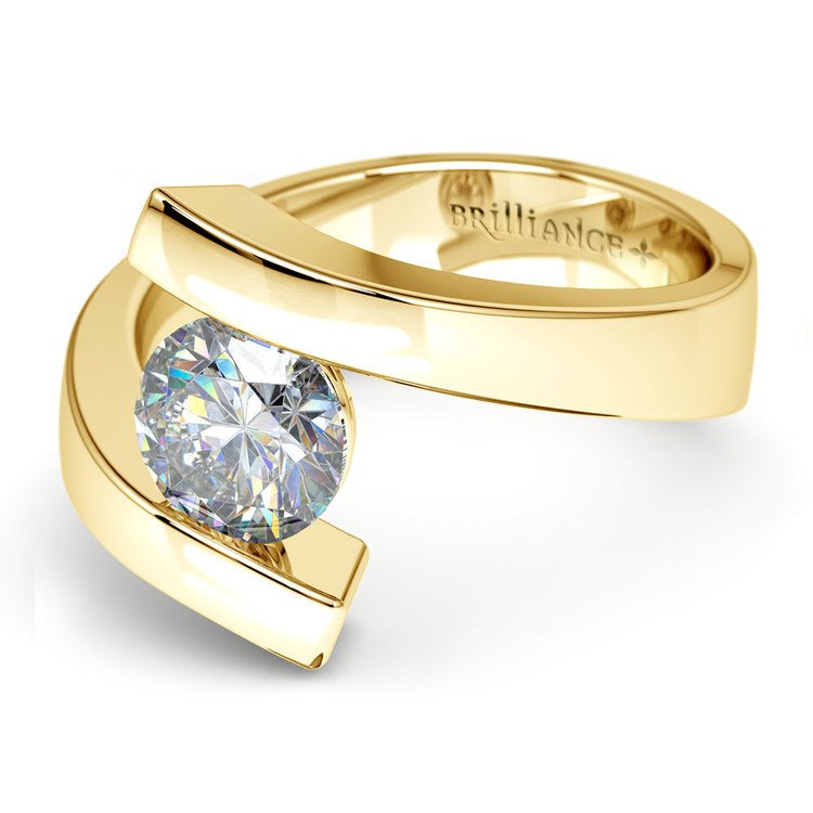 Gold Bypass Engagement Ring Setting - Clean Modern Design   04