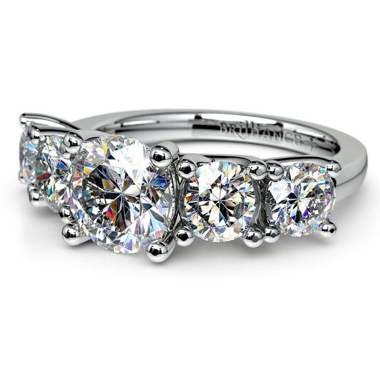 Five Stone Moissanite Engagement Ring in White Gold (7.5 mm) | 01