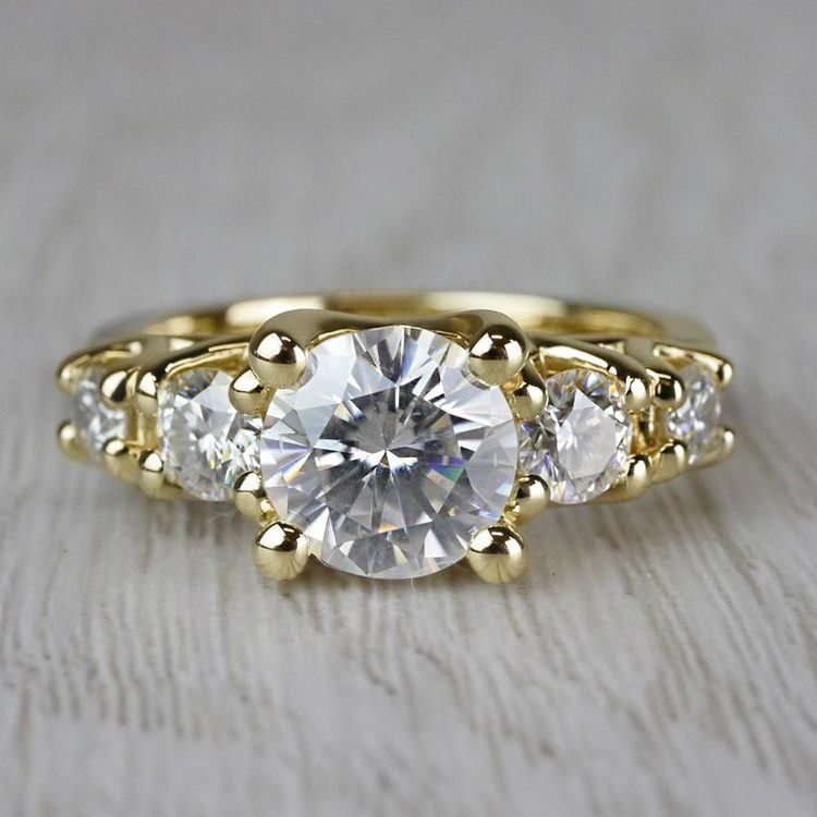 Five Stone Moissanite Engagement Ring in Yellow Gold (7.5 mm)   05
