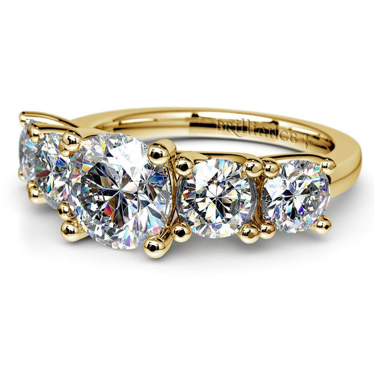 Five Stone Moissanite Engagement Ring in Yellow Gold (7.5 mm) | 01