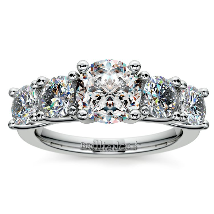 Five Stone Moissanite Engagement Ring in White Gold (8 mm) | 02