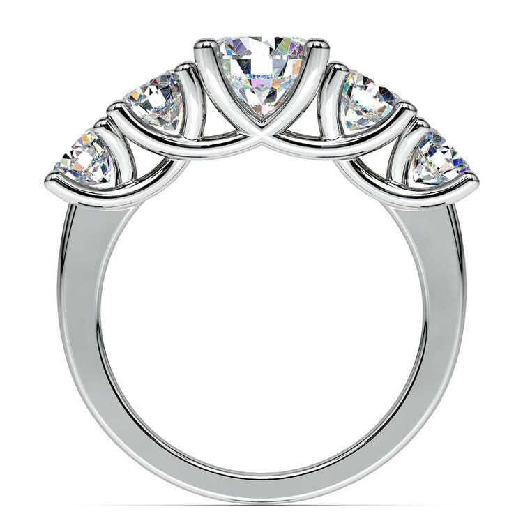 Five Stone Moissanite Engagement Ring in White Gold (8 mm) | 04