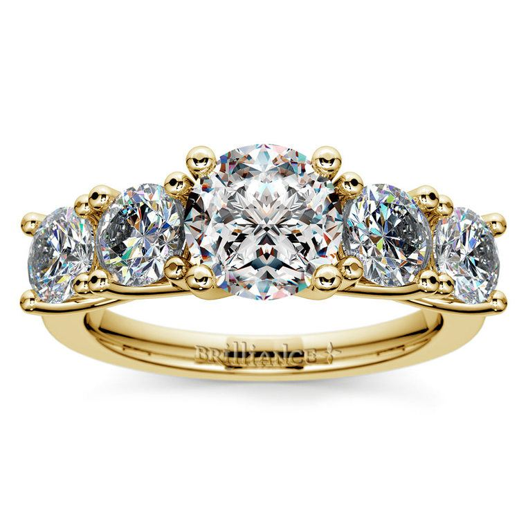 Five Stone Moissanite Engagement Ring in Yellow Gold (8 mm)   02
