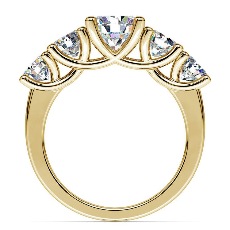 Five Stone Moissanite Engagement Ring in Yellow Gold (8 mm)   04
