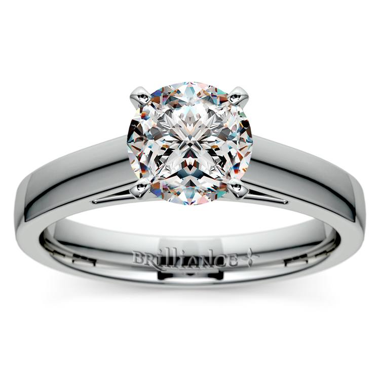 Flat Cathedral Solitaire Engagement Ring in White Gold (3mm) | 01