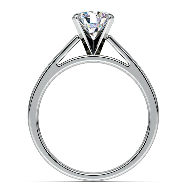 Flat Cathedral Solitaire Engagement Ring in White Gold (3mm) | 02