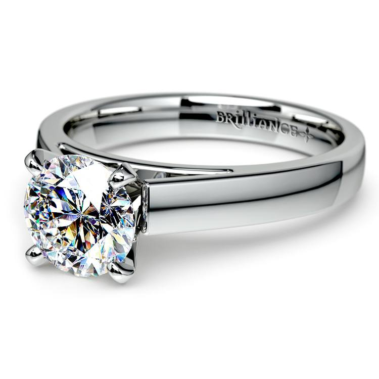 Flat Cathedral Solitaire Engagement Ring in White Gold (3mm) | 04
