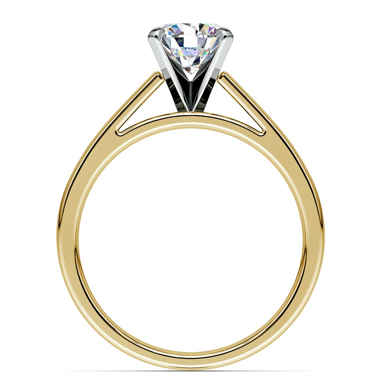 Flat Cathedral Solitaire Engagement Ring in Yellow Gold (3mm) | 02