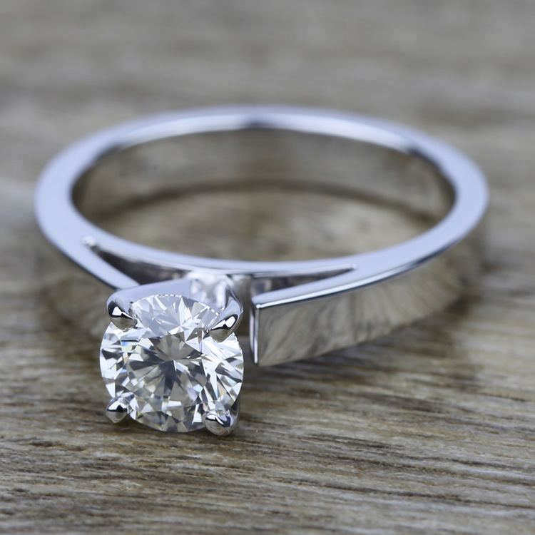 Flat Cathedral Solitaire Engagement Ring In Platinum 3mm
