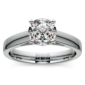 Flat Cathedral Solitaire Engagement Ring in Platinum (4mm)