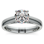 Flat Cathedral Solitaire Engagement Ring in White Gold (4mm) | Thumbnail 01