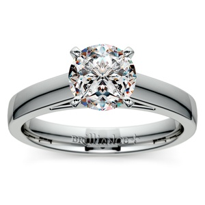 Flat Cathedral Solitaire Engagement Ring in White Gold (4mm)