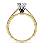 Flat Cathedral Solitaire Engagement Ring in Yellow Gold (4mm) | Thumbnail 02