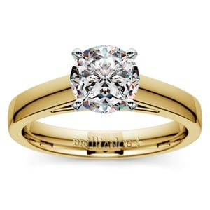 Flat Cathedral Solitaire Engagement Ring in Yellow Gold (4mm)