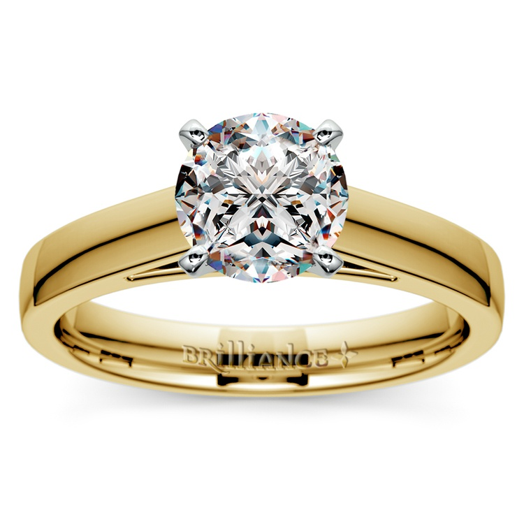 Flat Cathedral Solitaire Engagement Ring in Yellow Gold (4mm) | 01