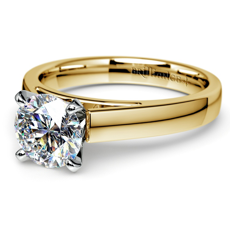Flat Cathedral Solitaire Engagement Ring in Yellow Gold (4mm) | 04