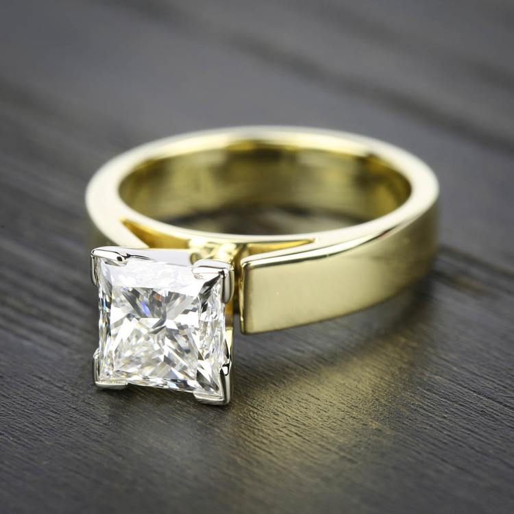 Flat Cathedral Solitaire Engagement Ring in Yellow Gold (4mm) | 05
